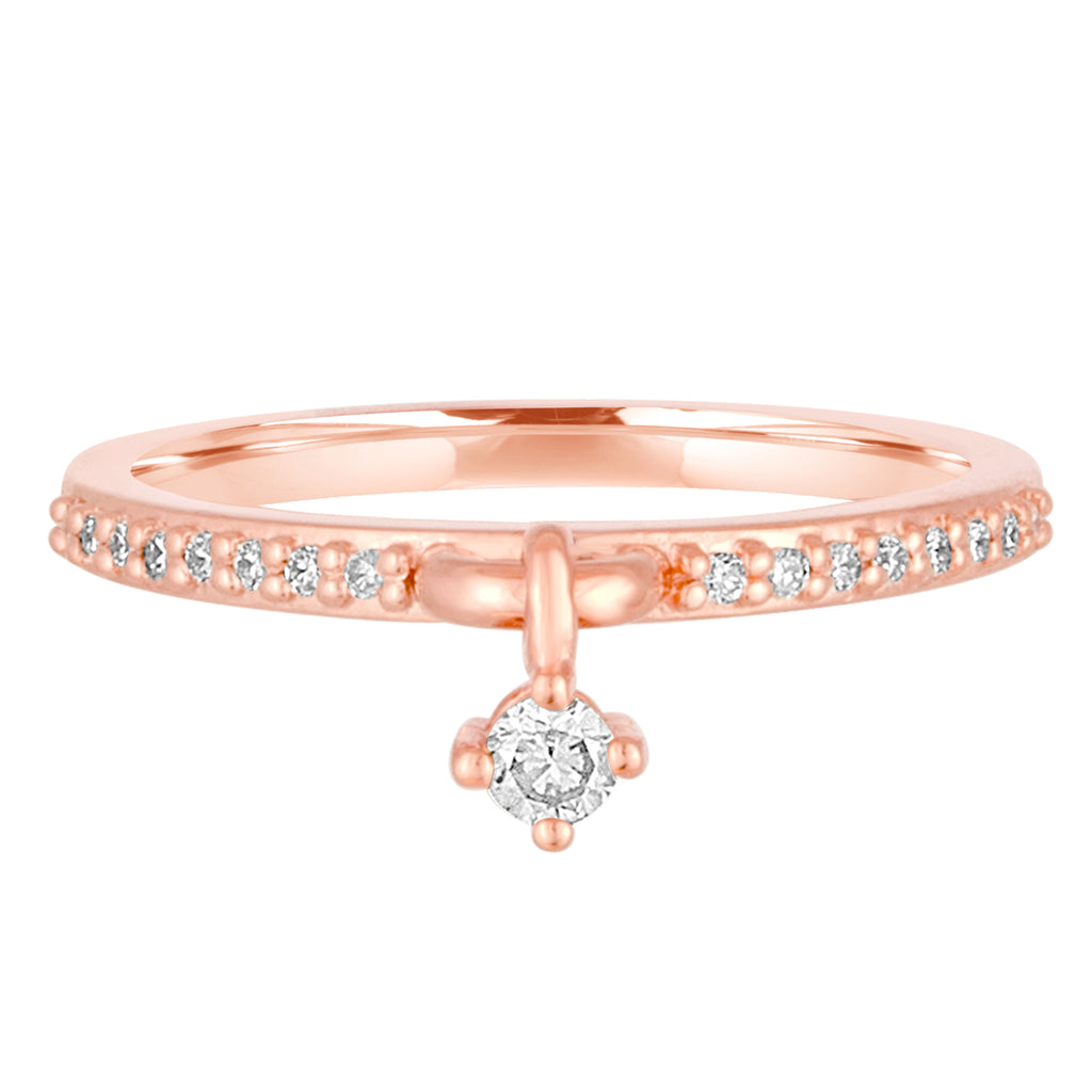 14K Rose Gold Shake It Off Diamond Charm Ring