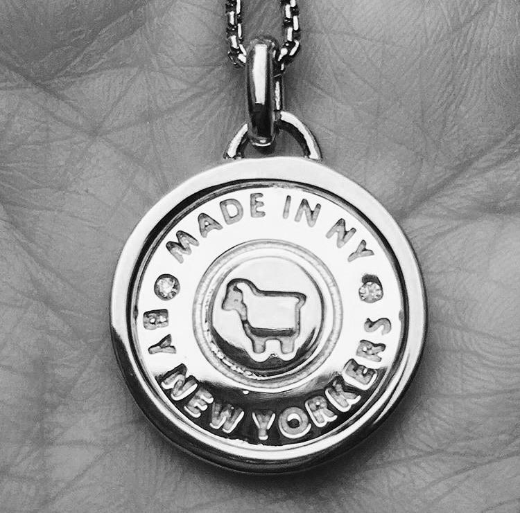 """Made in NY"" Framed Token Necklace"