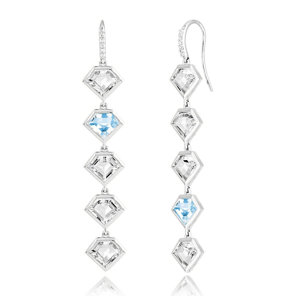 *14K White Gold Five Story Drop Earrings