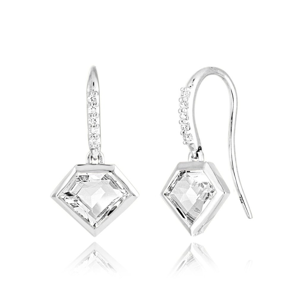 *14K White or Rose Gold Short Story Drop Earrings