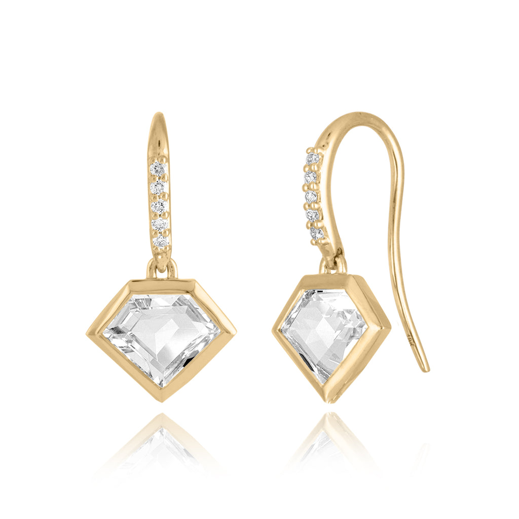 18K Gold Short Story Drop Earrings