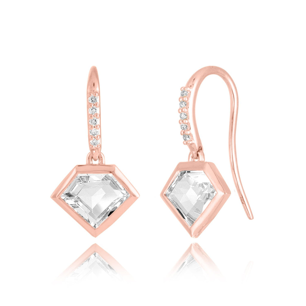 14K White or Rose Gold Short Story Drop Earrings