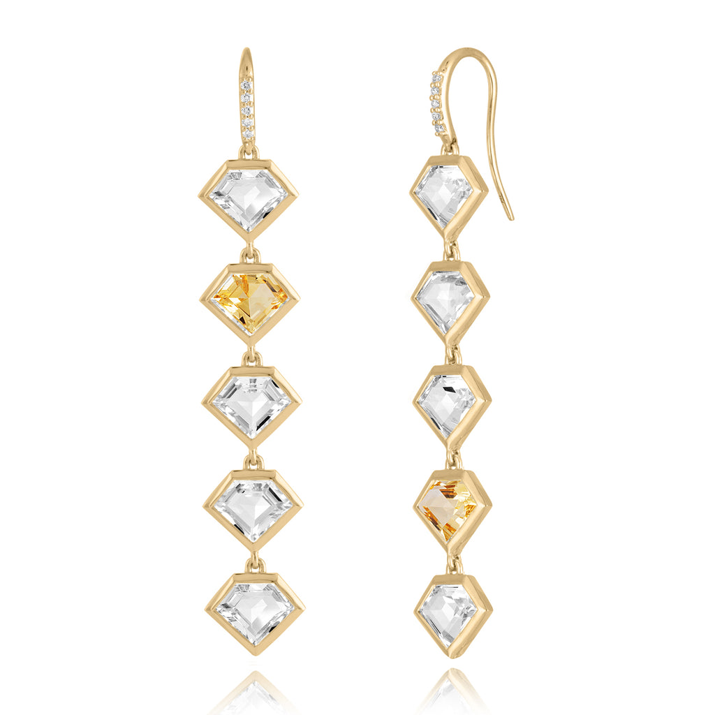 *18K Gold Five Story Drop Earrings