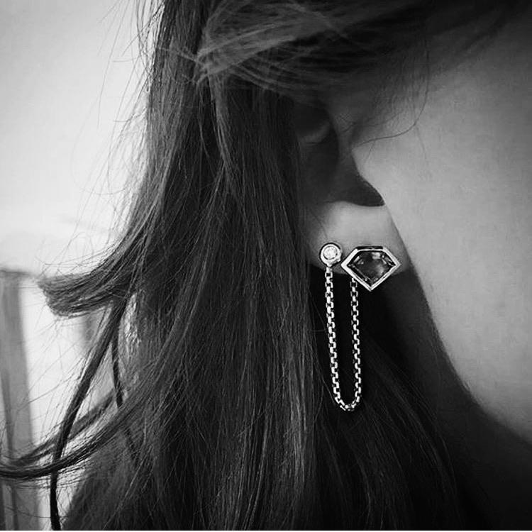 Sterling Silver Crosstown Chain Earring