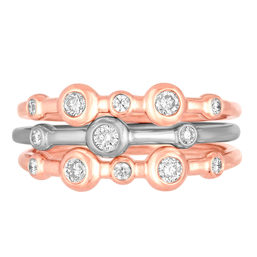*14K Rose and White Gold Mariel Stack Trio