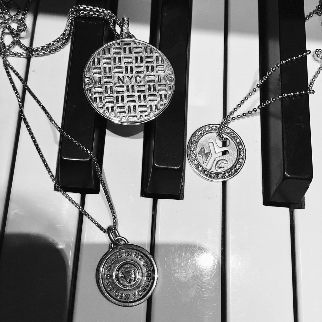 "Sterling Silver NYC ""Make It There"" Token Necklace"