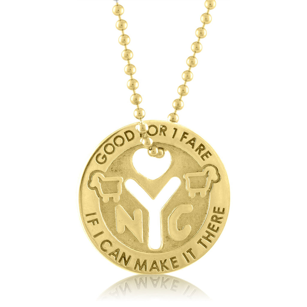 18K Yellow Gold NYC Love Token Necklace