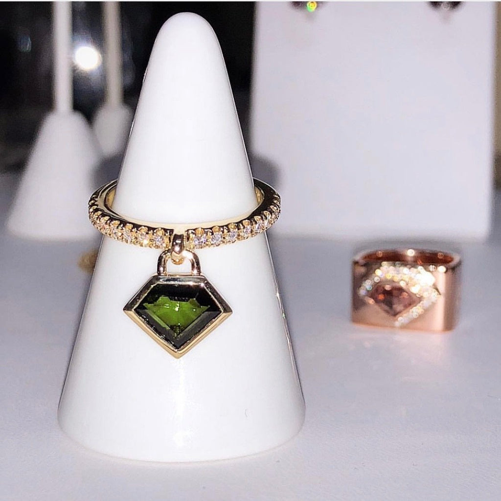 18K Yellow Gold and Tourmaline Diamond Power Charm Ring