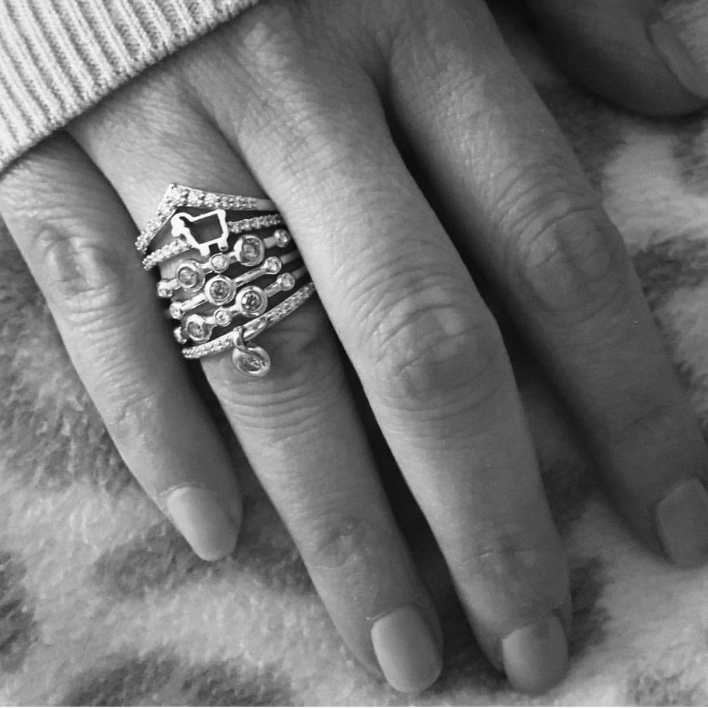 *Mini Pave Lamb Ring in White Gold