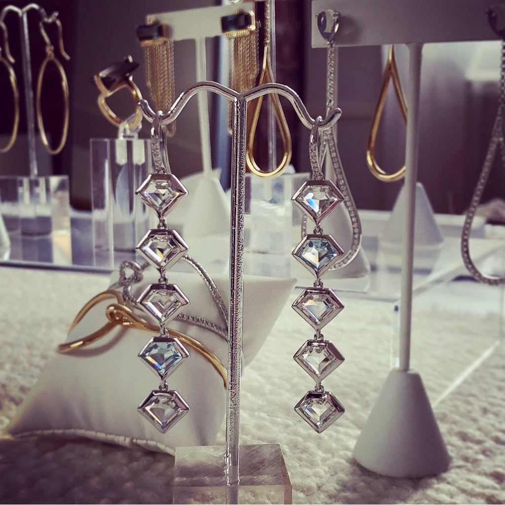 14K White Gold Five Story Drop Earrings