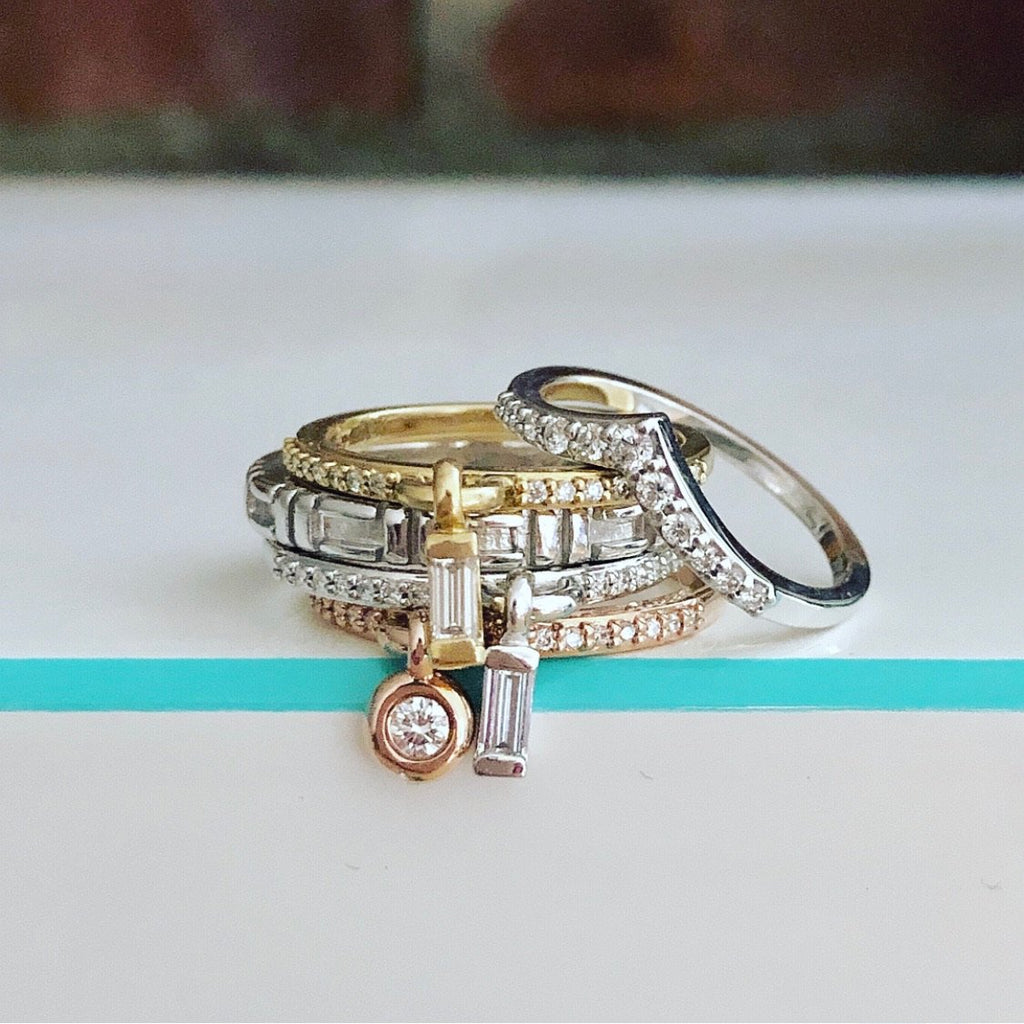 14K White or Rose Gold Lila Chevron Ring