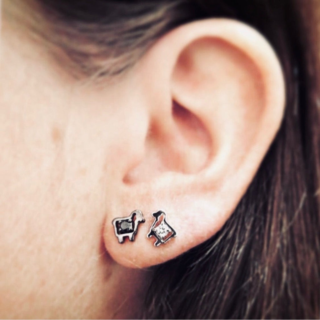 Sterling Silver Mini Logo Diamond Stud