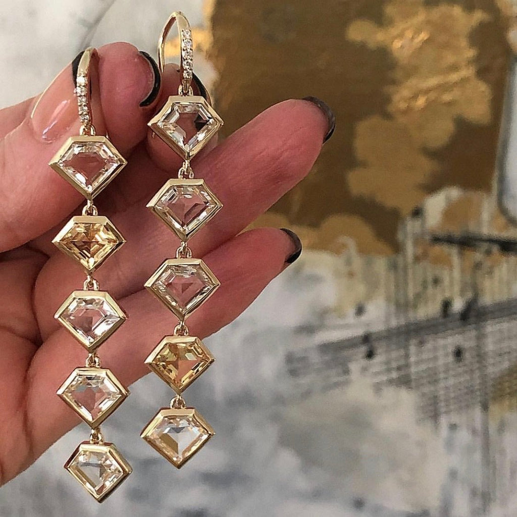 18K Gold Five Story Drop Earrings