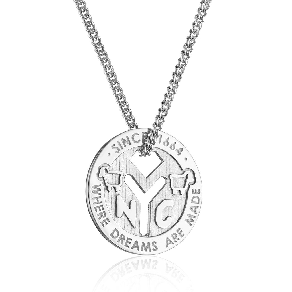 Sterling Silver NYC 'Where Dreams Are Made' Token Necklace