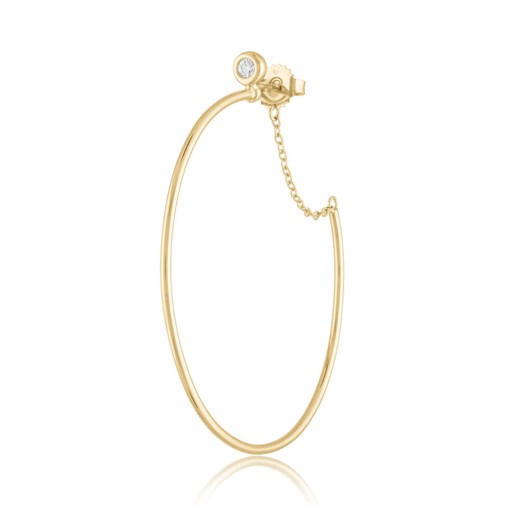 *18K Yellow Gold and Diamond 'Around The Way Girl' Hoop Earrings