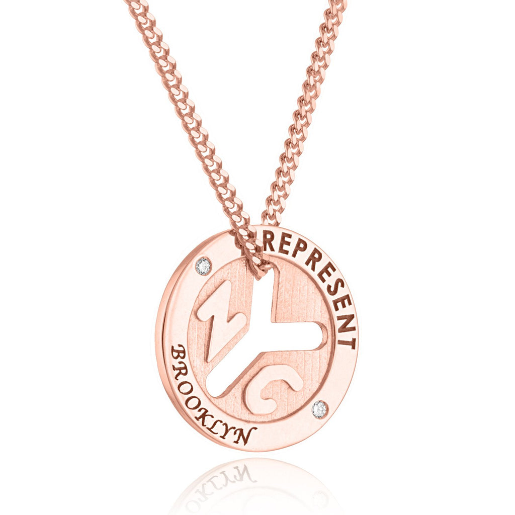 14K Rose Gold NYC 'REPRESENT' Token Necklace