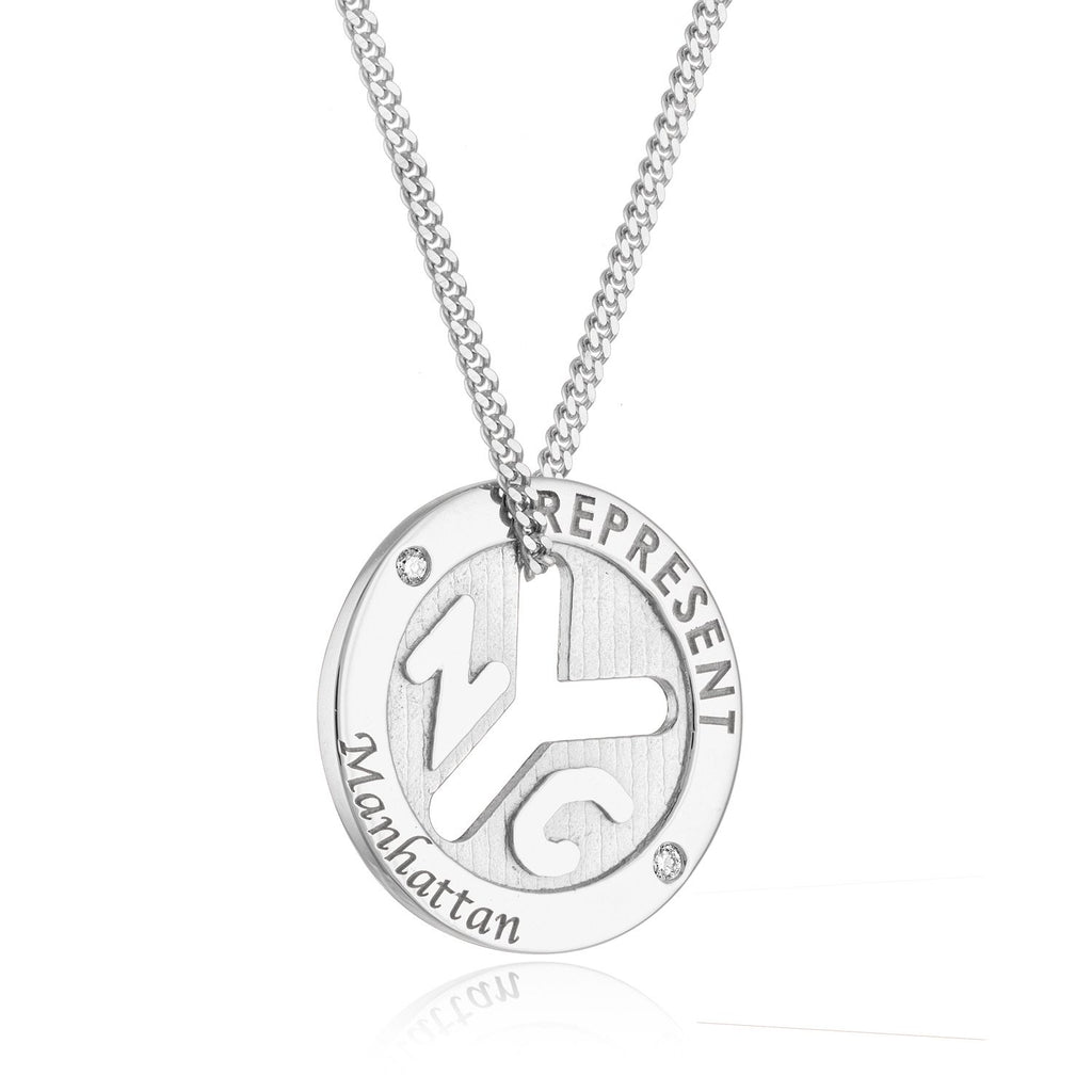 Sterling Silver NYC 'REPRESENT' Token Necklace