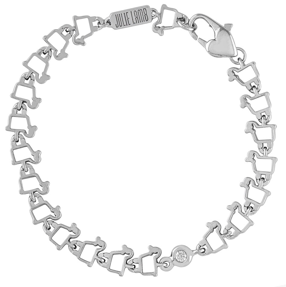 Sterling Silver Lamb Logo Link Bracelet with Heart Clasp