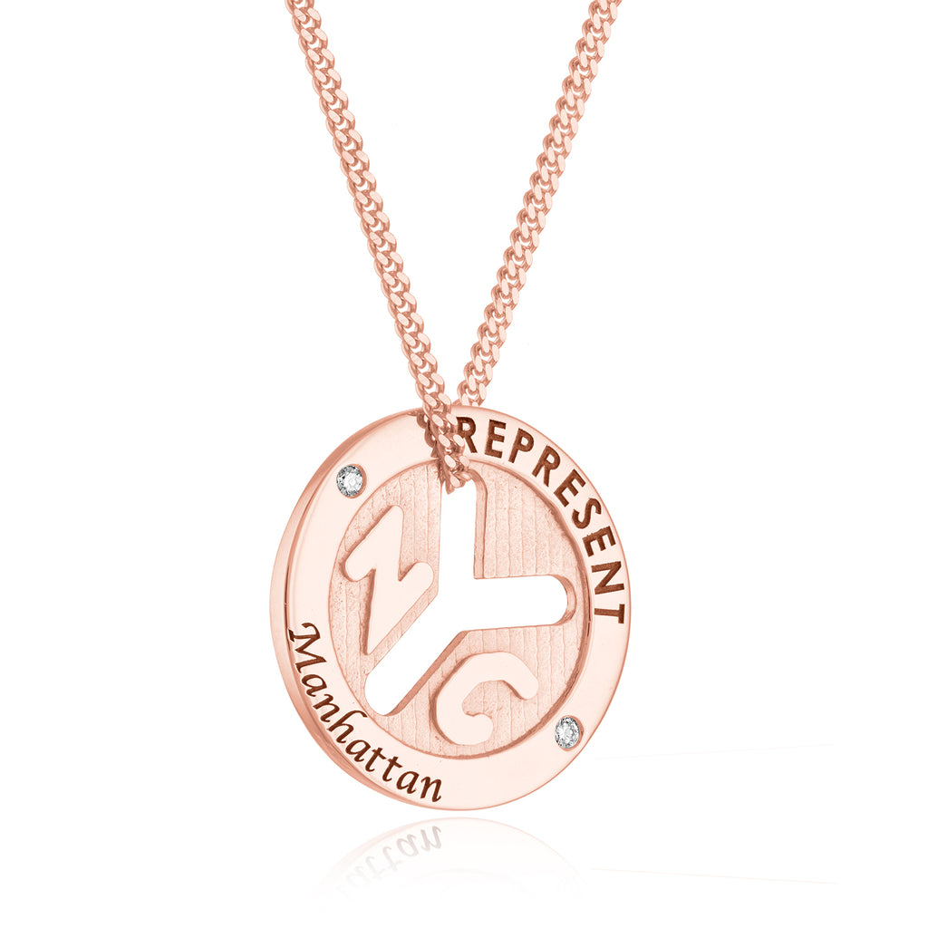 *14K Rose Gold NYC 'REPRESENT' Token Necklace