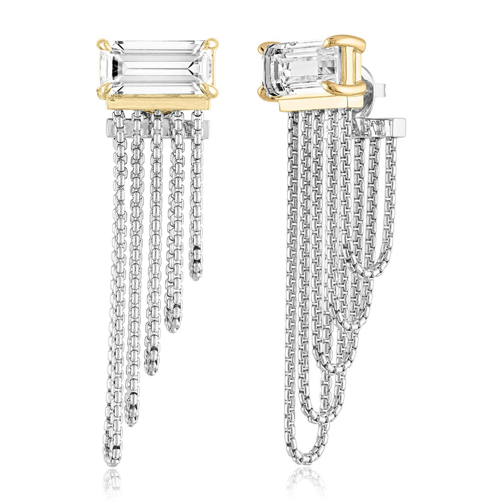 *Sterling Silver with 18K BILLBOARD Statement Chain Earrings