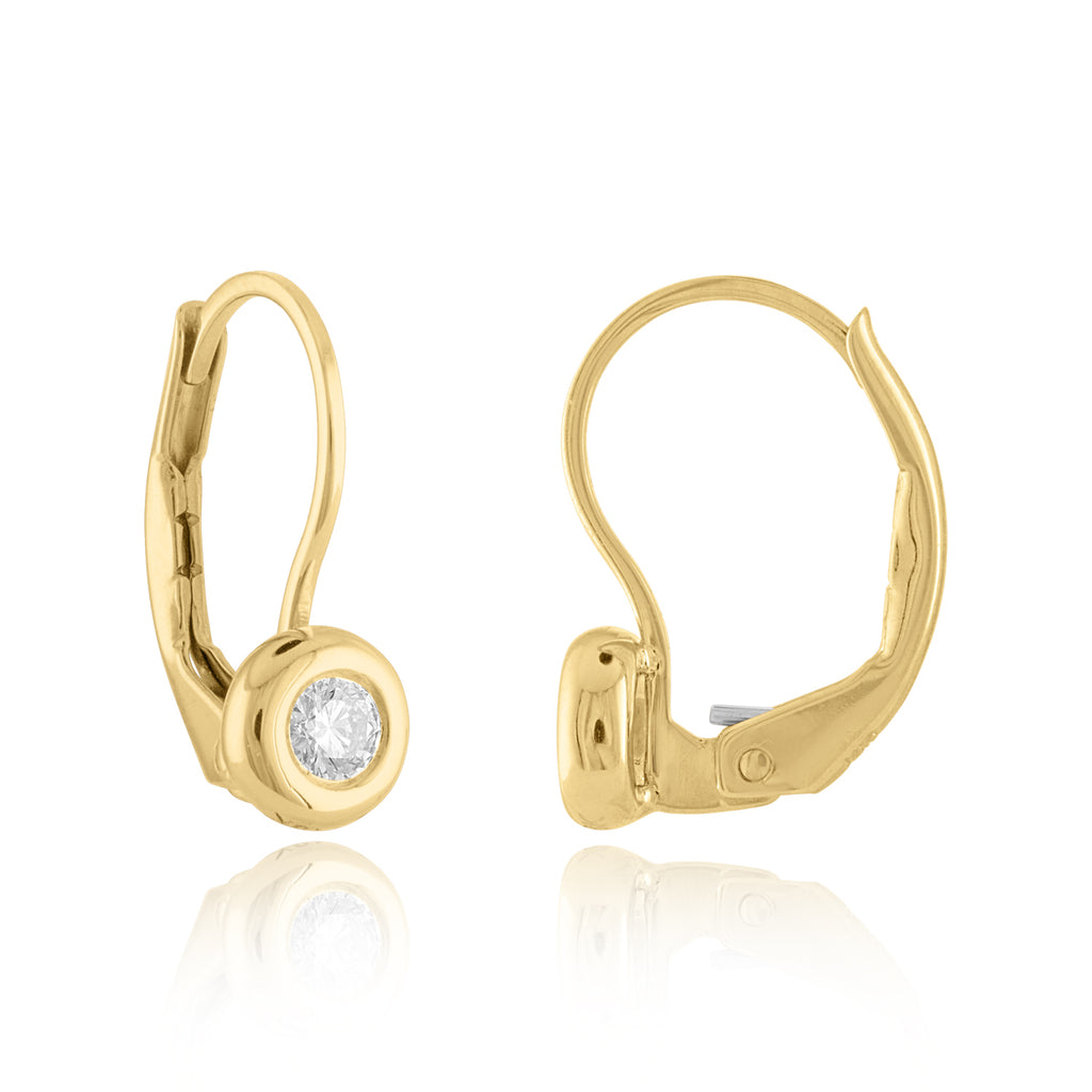 18K Yellow Gold Signature Bezel Leverback Earrings