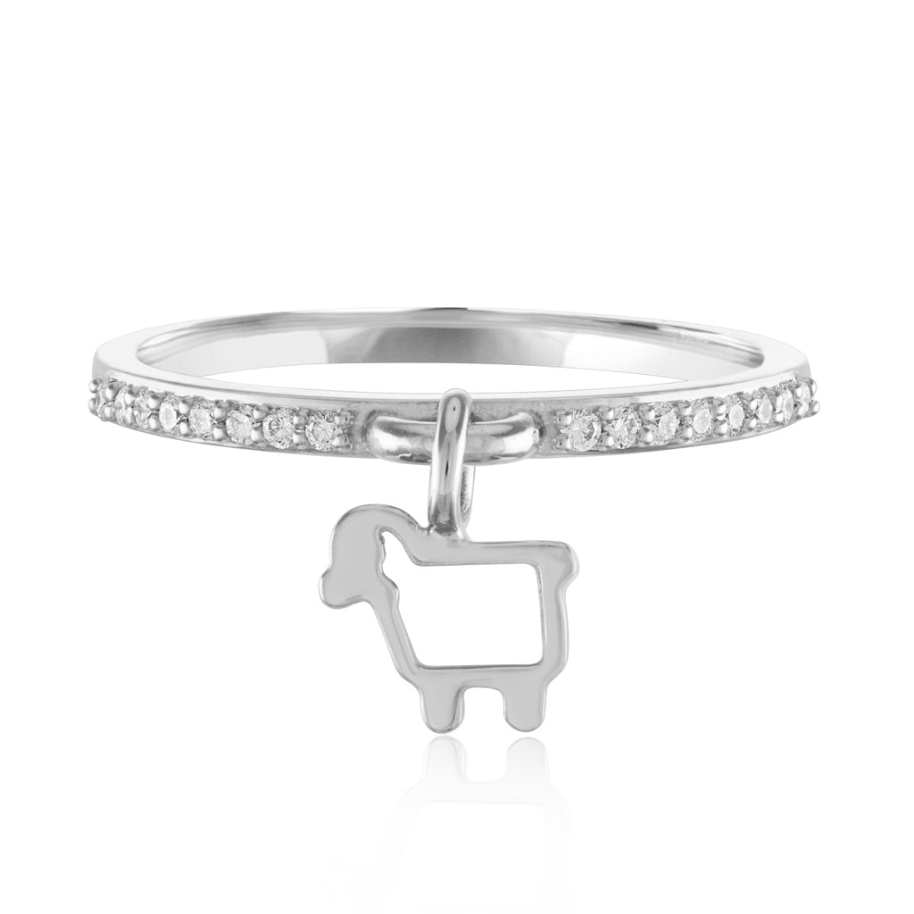 14K White Gold Charming Ewe Ring