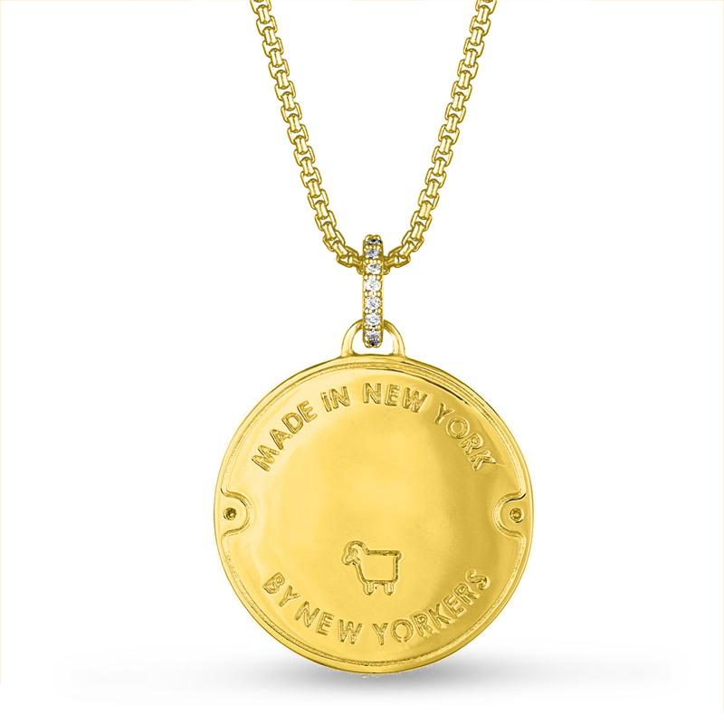 18K Yellow Gold Manhole Statement Pendant