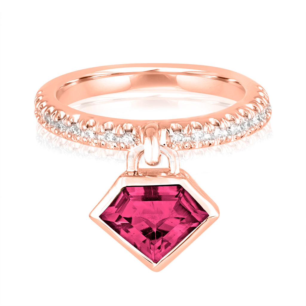 *14K Rose Gold Rhodolite Garnet and Diamond Power Charm Ring