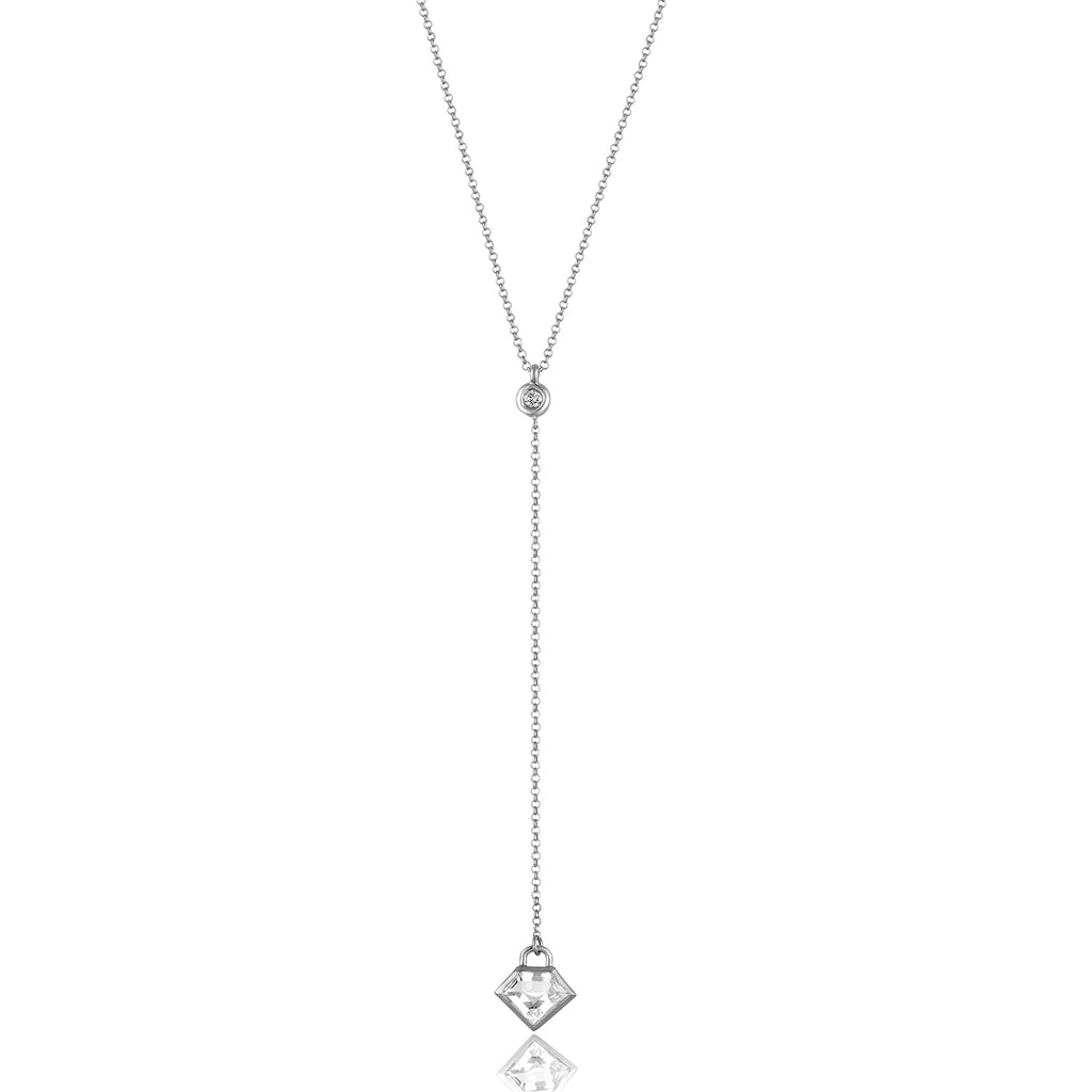 Sterling Silver Lane Lariat with Semi-Precious Stone and Diamond