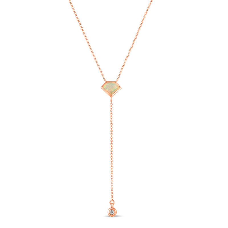 14K Rose Gold Lois Lariat Necklace in Opal