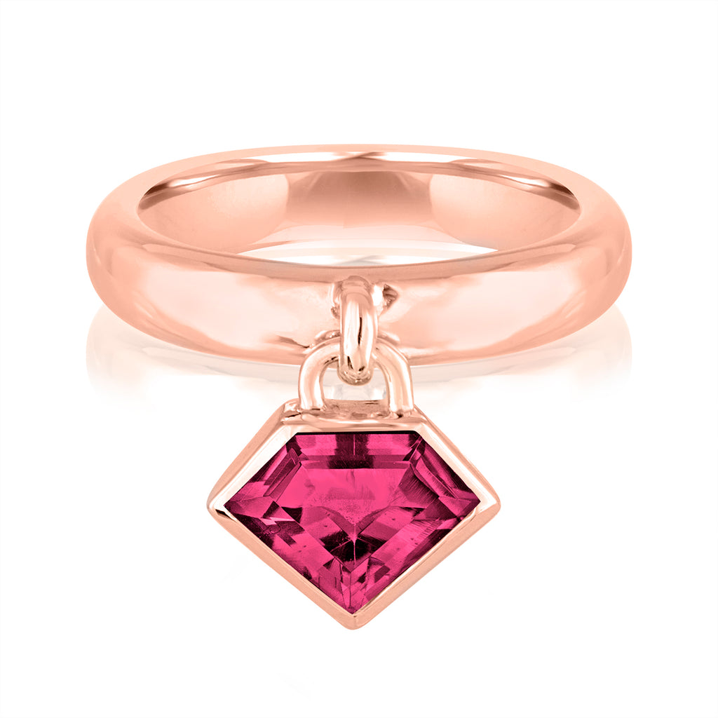 14K Rose Gold & Rhodolite Super Polished Charm Ring