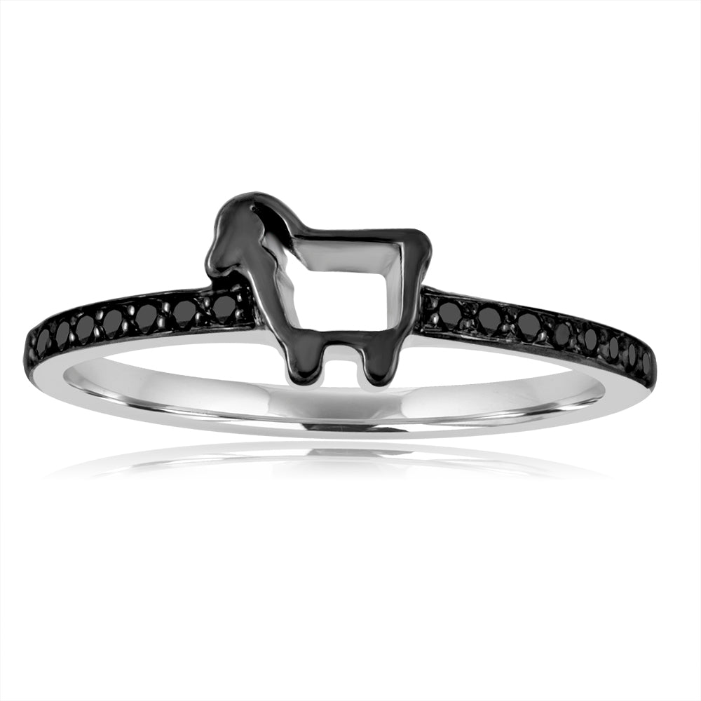 *14K White Gold Mini Pave Ring with Black Diamonds