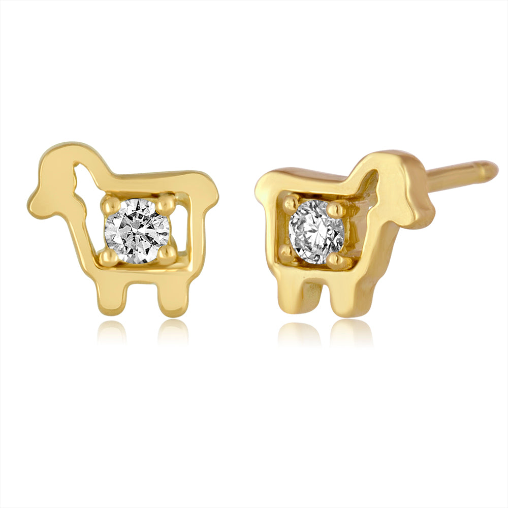 18K Yellow Gold Mini Logo Diamond Stud