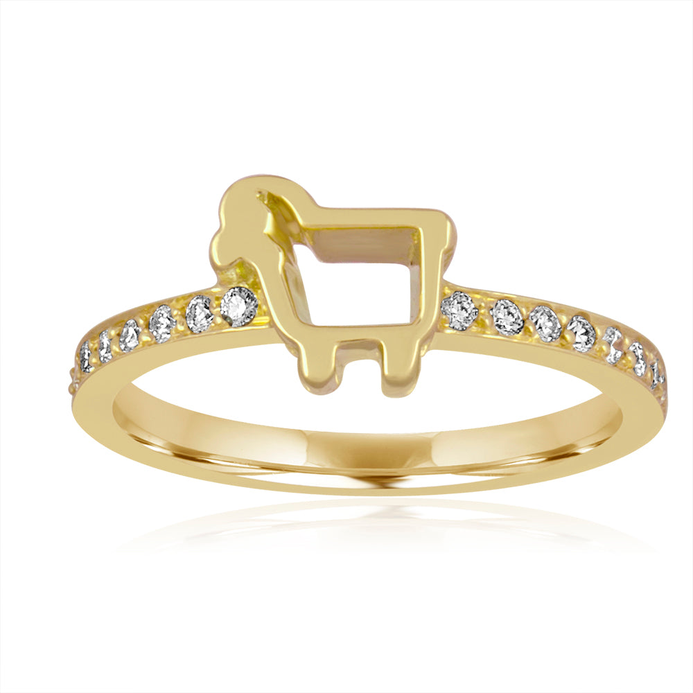 *18K Yellow Gold Mini Logo Pavé Ring