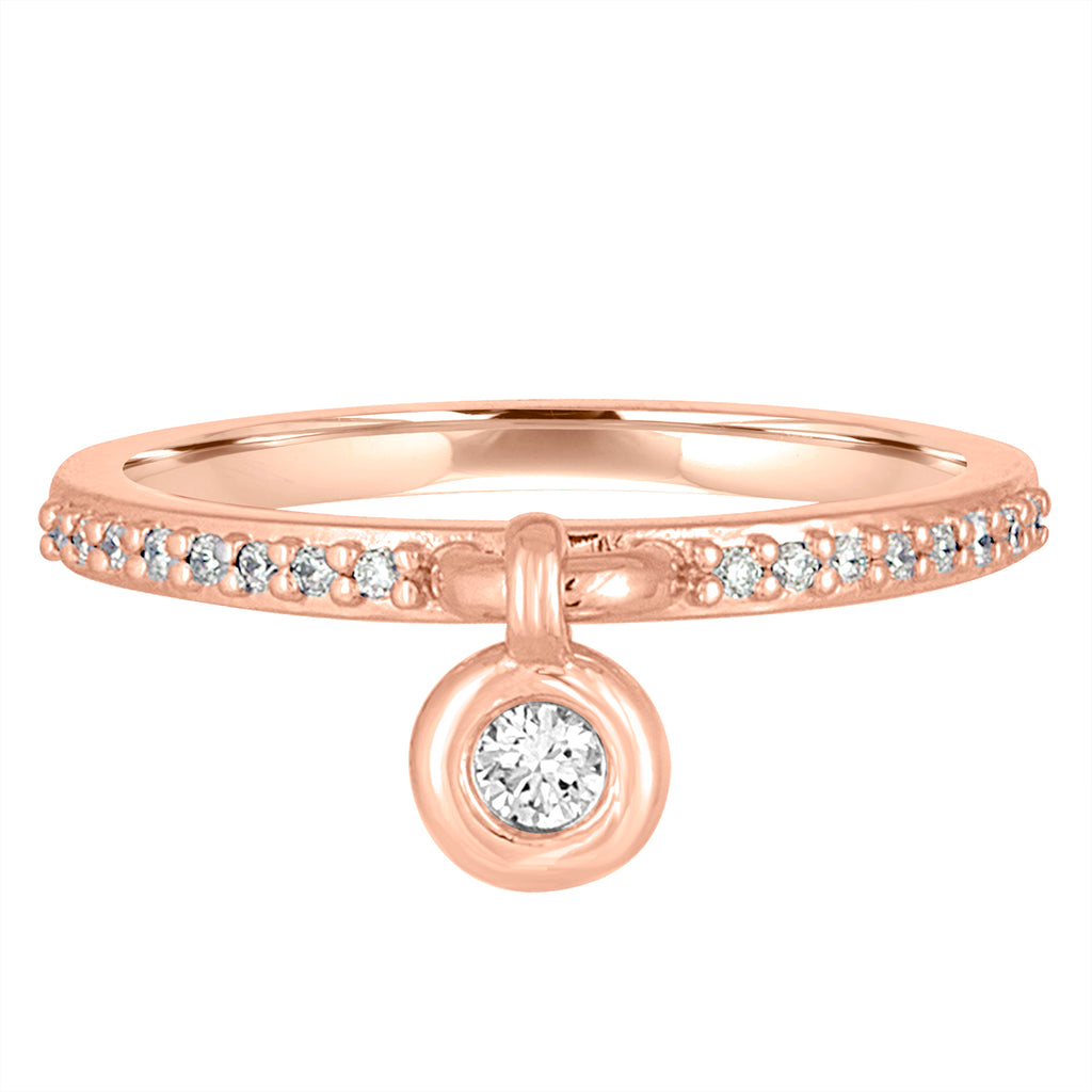 14K Rose Gold and Diamond Queen of Bounce Charm Ring