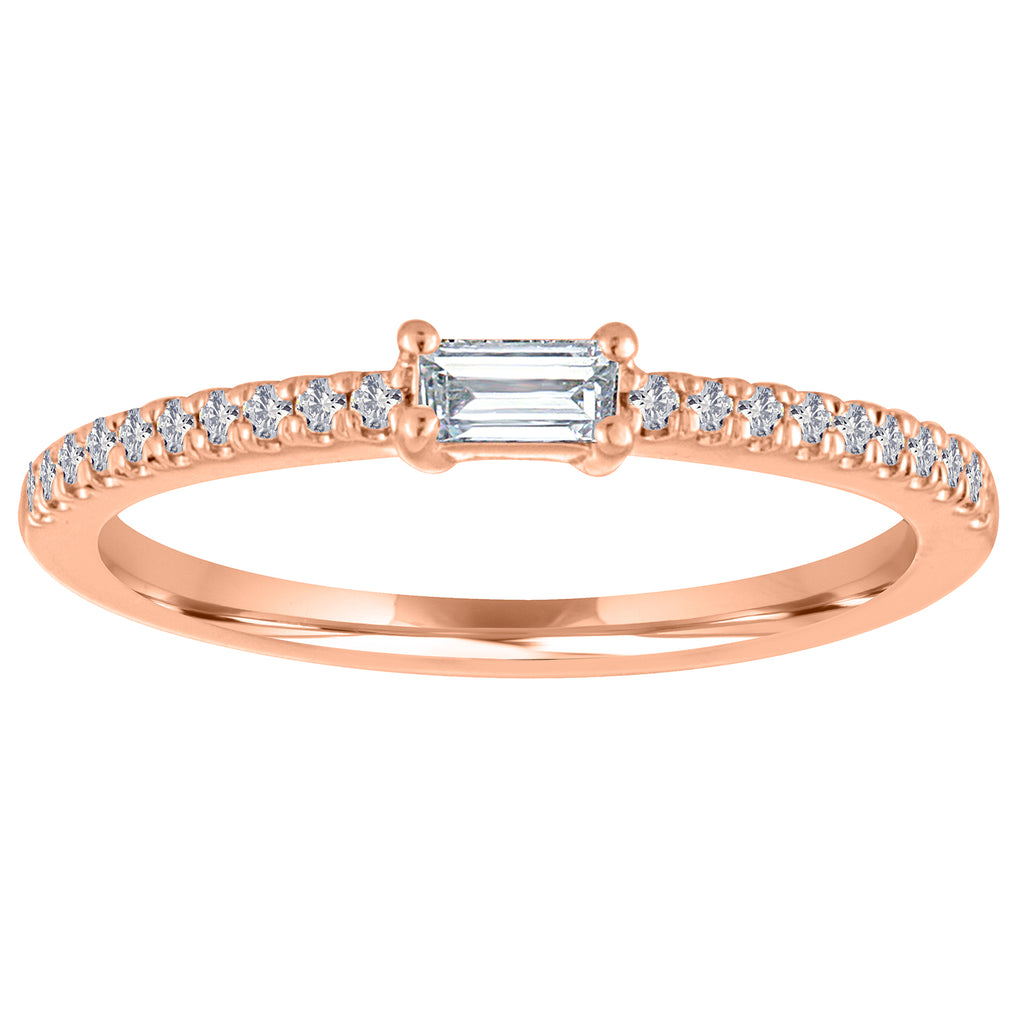 14K White or Rose Gold Slim Shiny Band with Diamonds