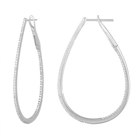 18K White Gold Rich & Thin Diamond Hoops
