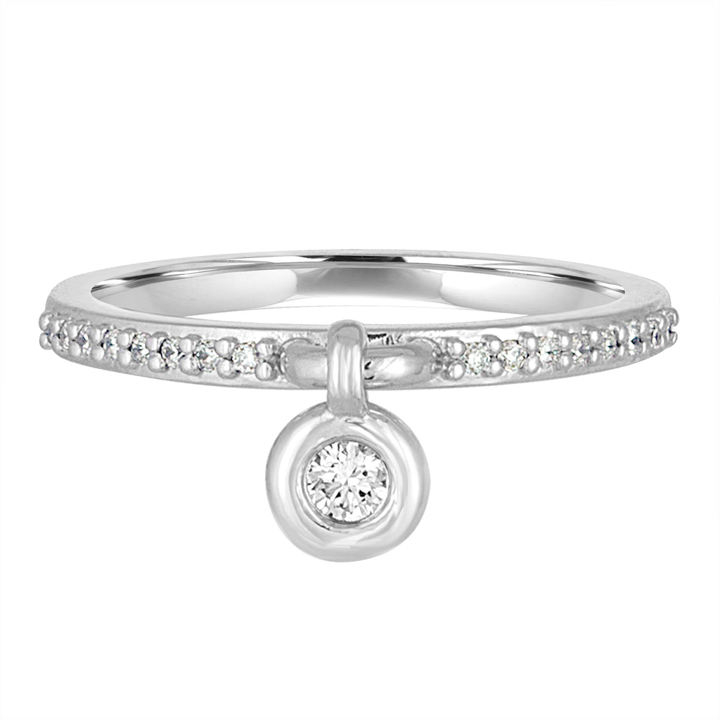 *14K White Gold Queen of Bounce Charm Ring