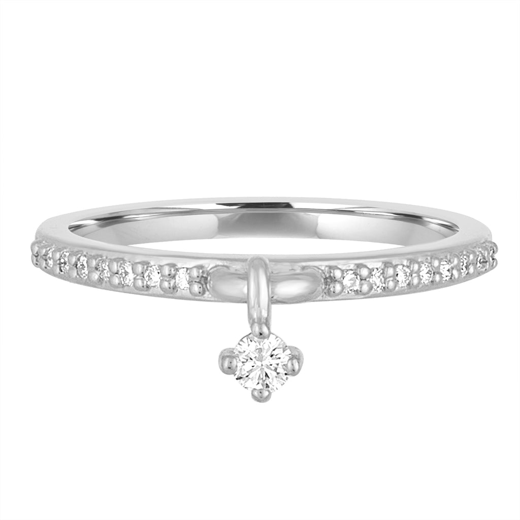 14K White Gold or Platinum Shake It Off Diamond Charm Ring