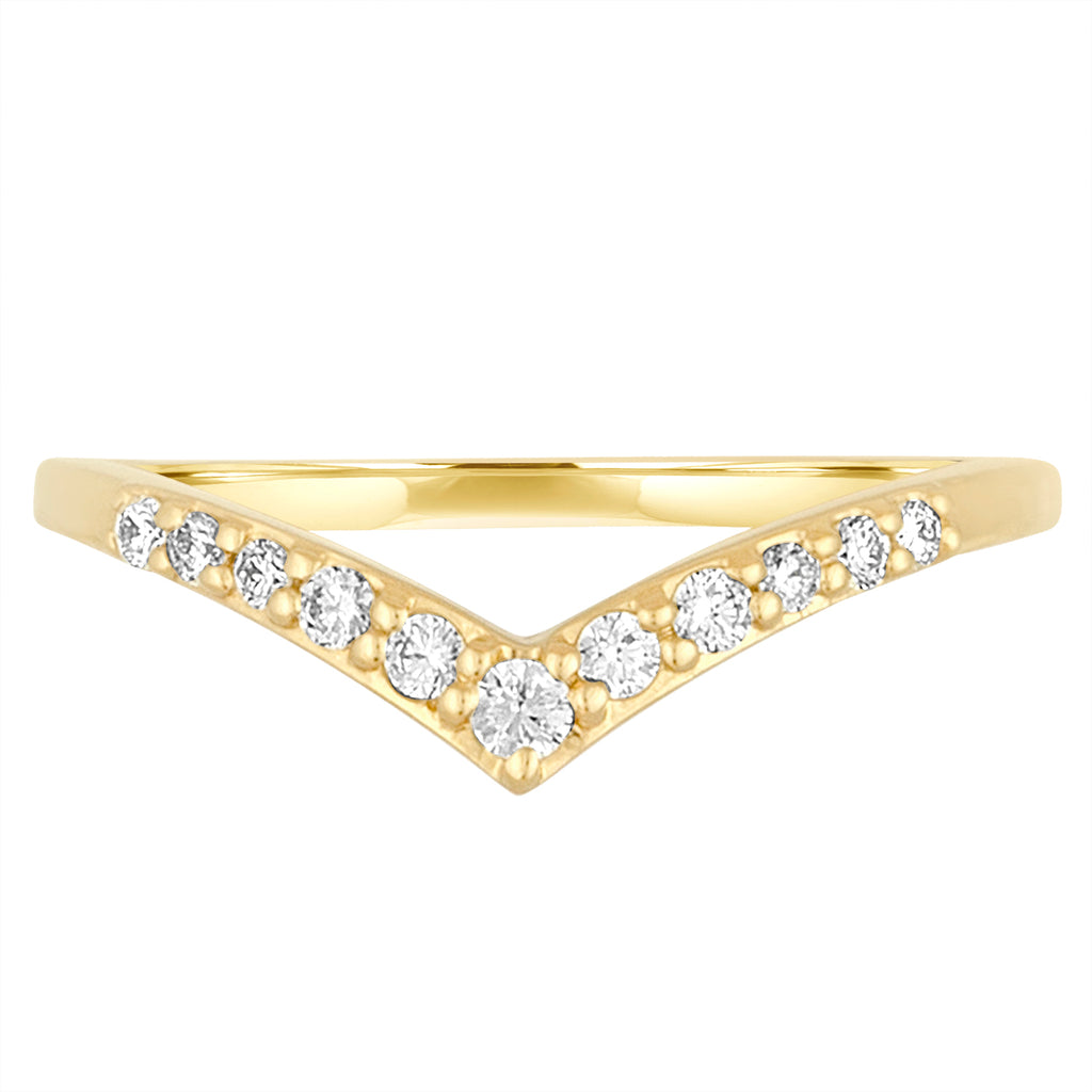 *18K Yellow Gold Lila Chevron Ring