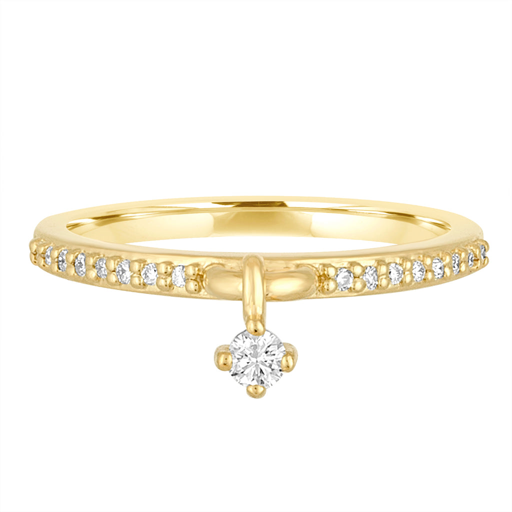 18K Yellow Gold Shake It Off Diamond Charm Ring