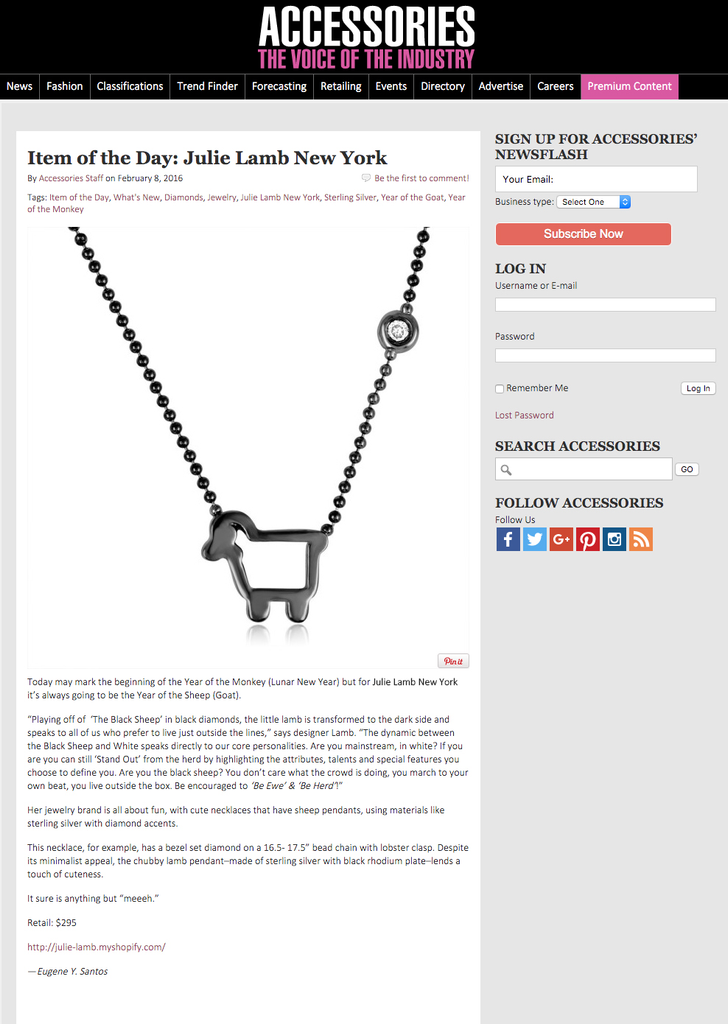 *Small Signature Black Sheep Necklace in Dark Sterling Silver