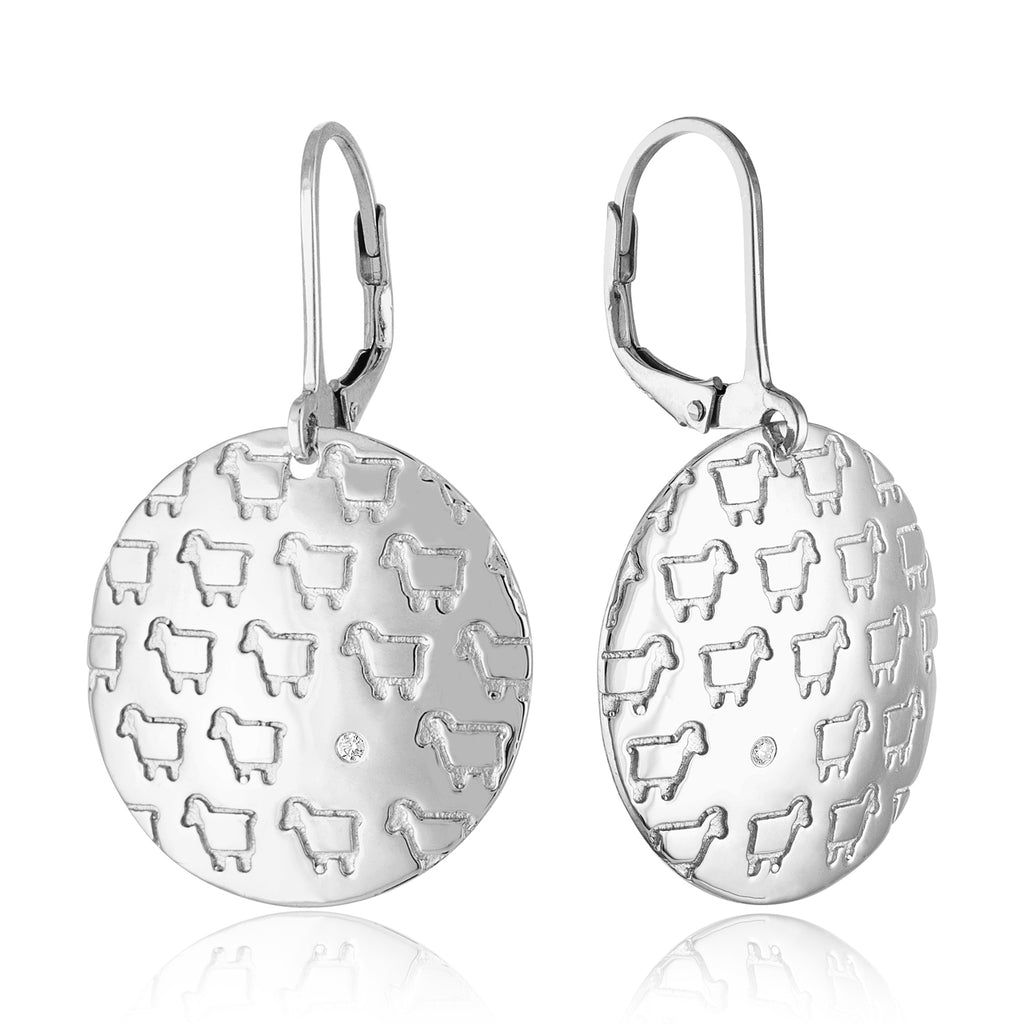 Sterling Silver Be Herd Disc Drop Earrings