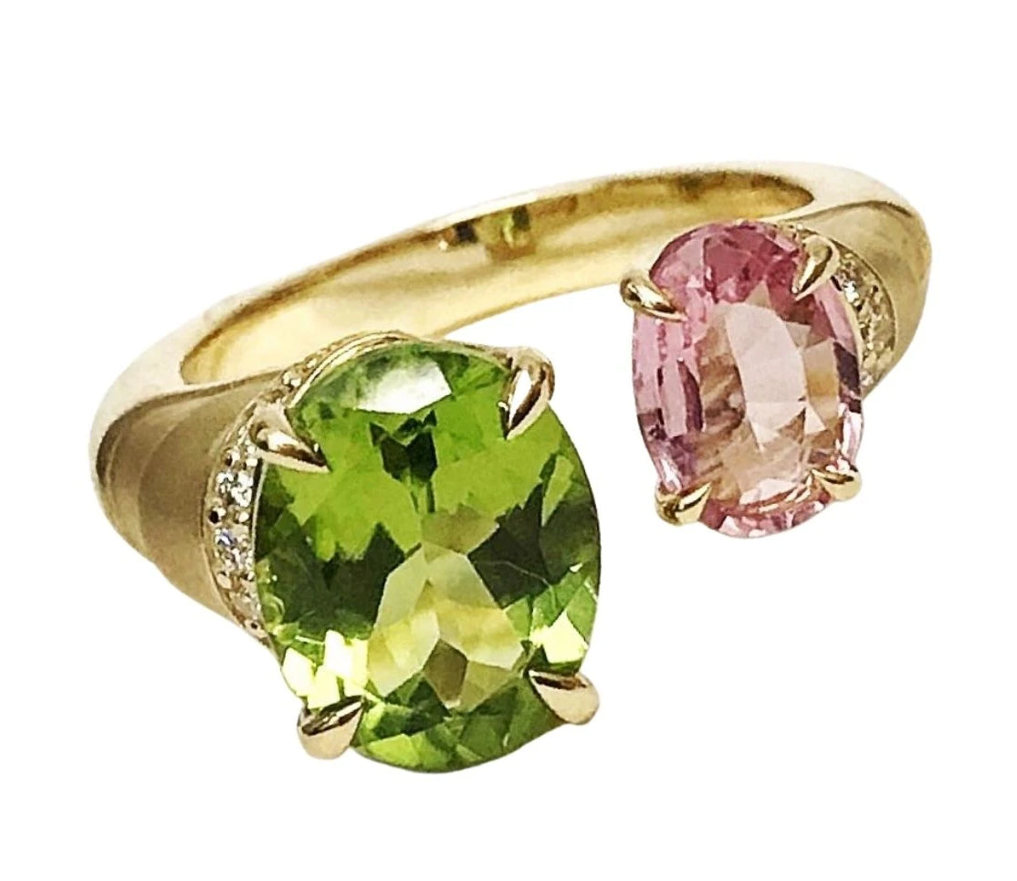 Pink tourmaline and peridot ring in 18K