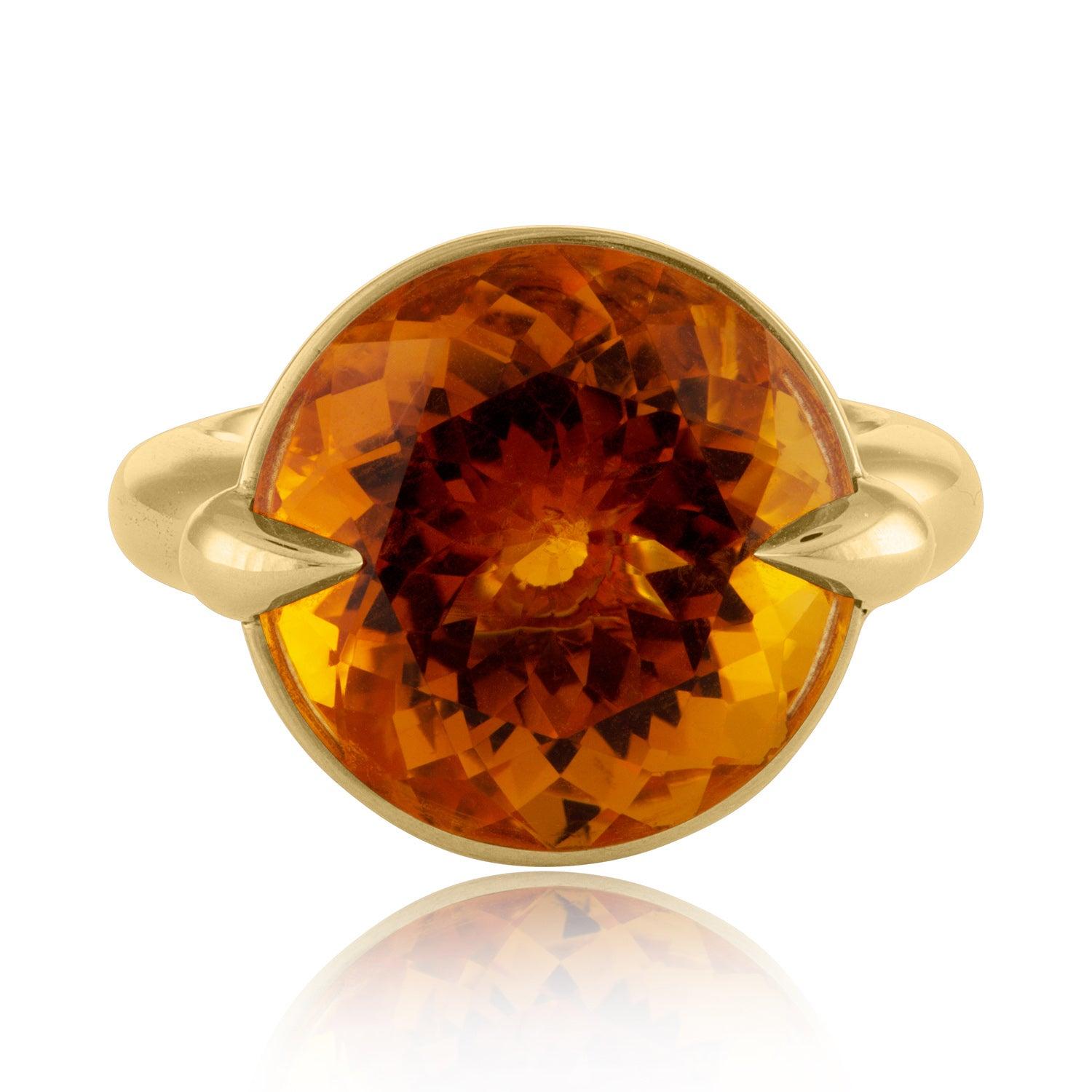 Face View Citrine Cocktail Ring