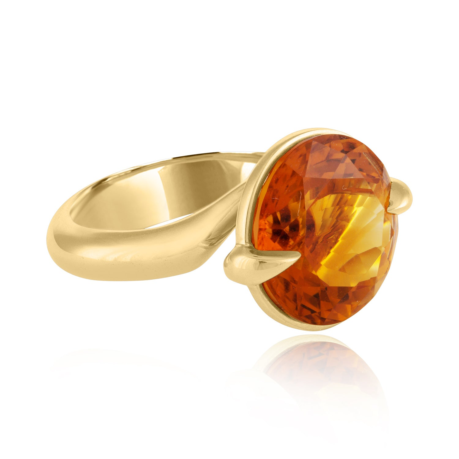 Side view Citrine Claw Cocktail Ring