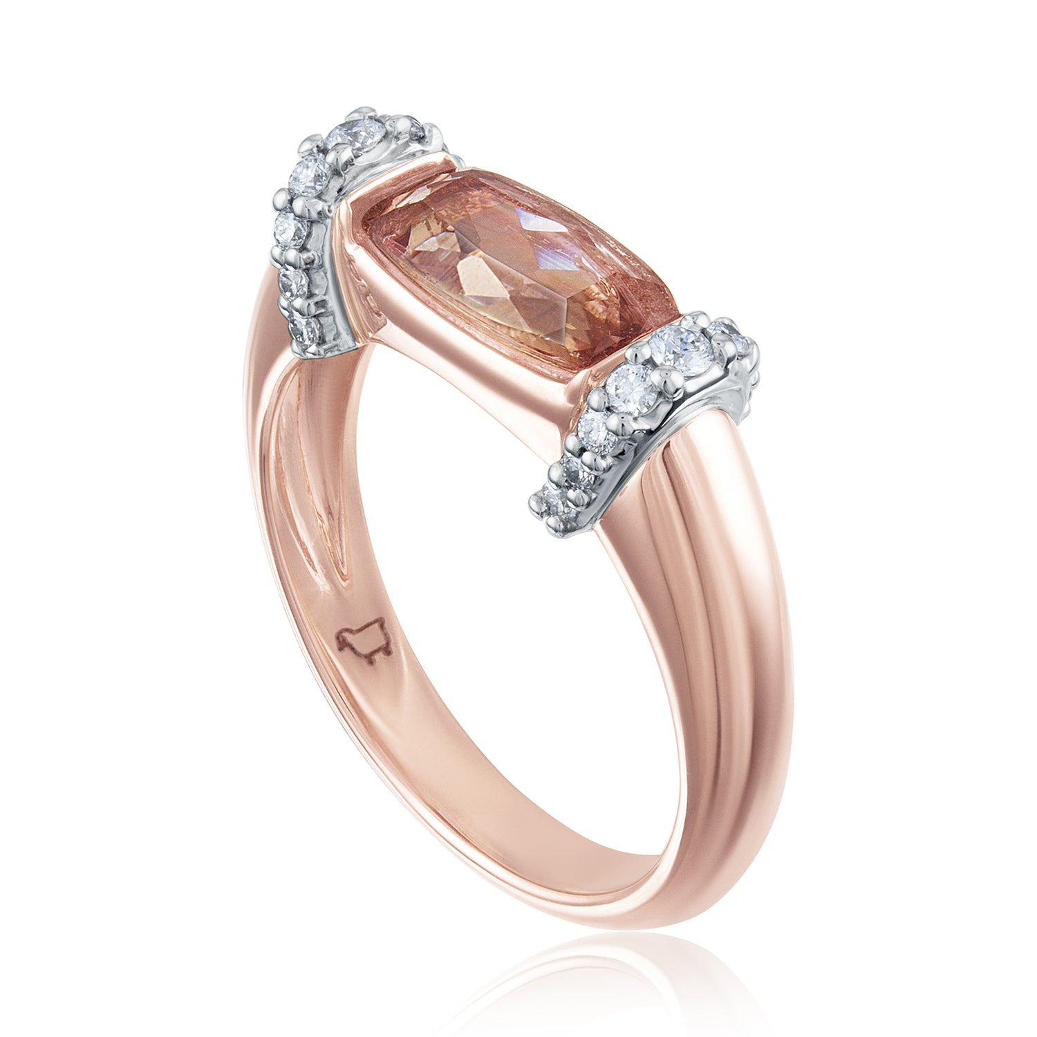 Side view rose gold and topaz with diamond cocktail ring
