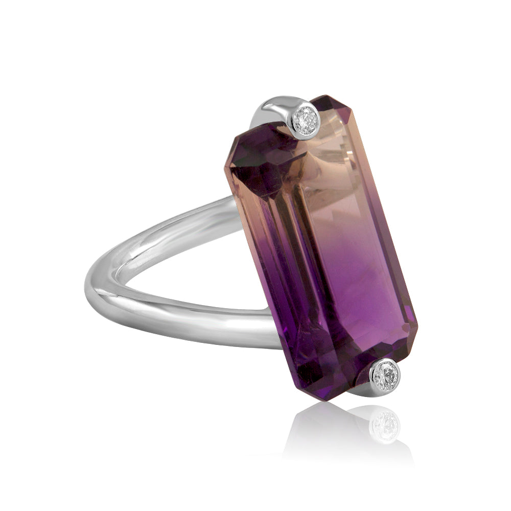 Side view amethsyt cocktail ring