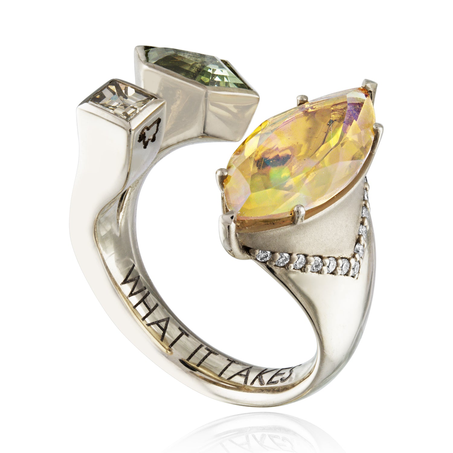 Opal and gemstone ring with diamonds