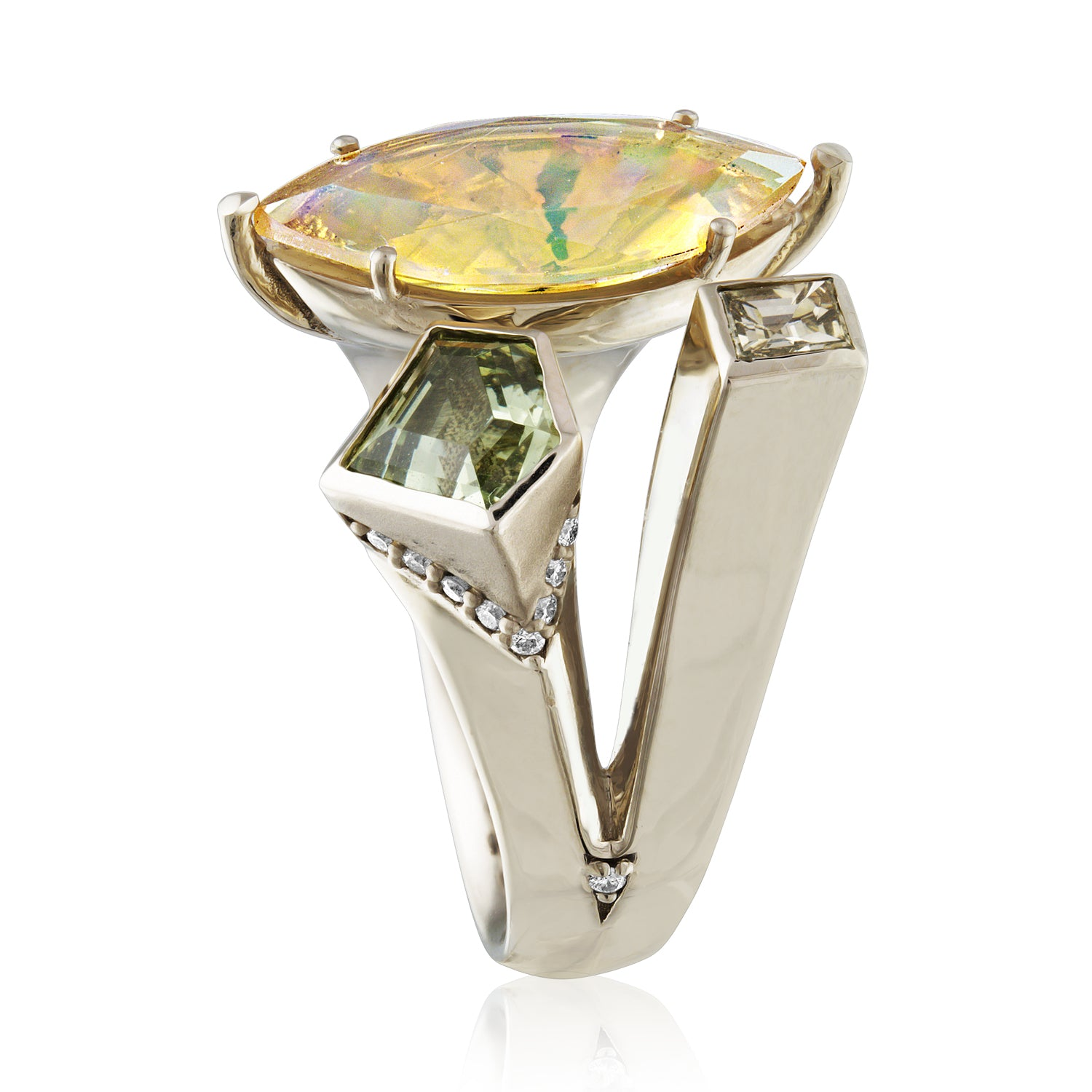 Side view Opal and gemstone cocktail ring with diamonds